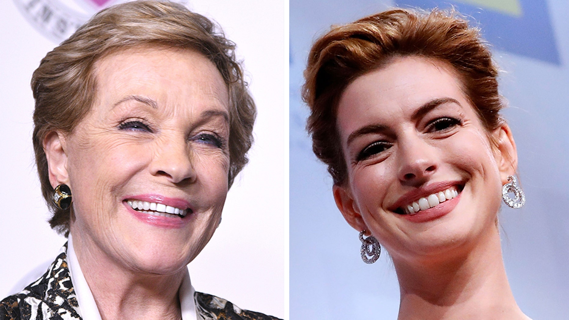 """Anne Hathaway (right) wished Julie Andrews, her co-star from """"The Princess Diaries,"""" a happy birthday on Instagram Monday."""