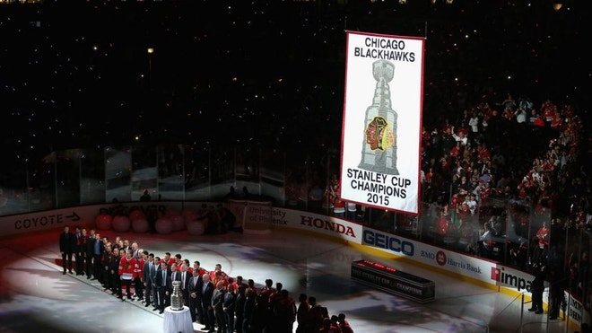 Oscar Lindberg, Kevin Klein and Derek Stepan scored in the first period, and the New York Rangers ruined Chicago's Stanley Cup party with a - victory over the Blackhawks on Wednesday on the first night of the NHL season