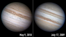 Interplanetary observers have noted that gas giant Jupiter has looked a little naked of late -- it's mysteriously lost one of its iconic stripes.