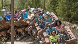 Billed as a family-friendly ride, the Seven Dwarfs Mine Train tells the story of Snow White from the dwarfs perspective.