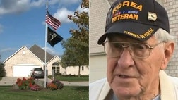 "An elderly veteran and his wife say there's ""absolutely no way"" the flag pole outside their Indiana home is coming down, despite threats from a homeowners association."