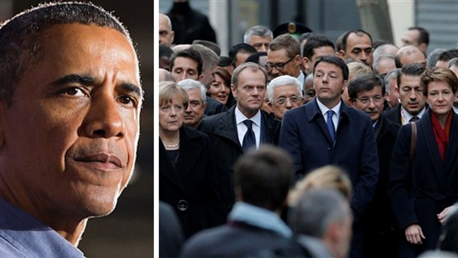 Obama missing from Paris unity rally