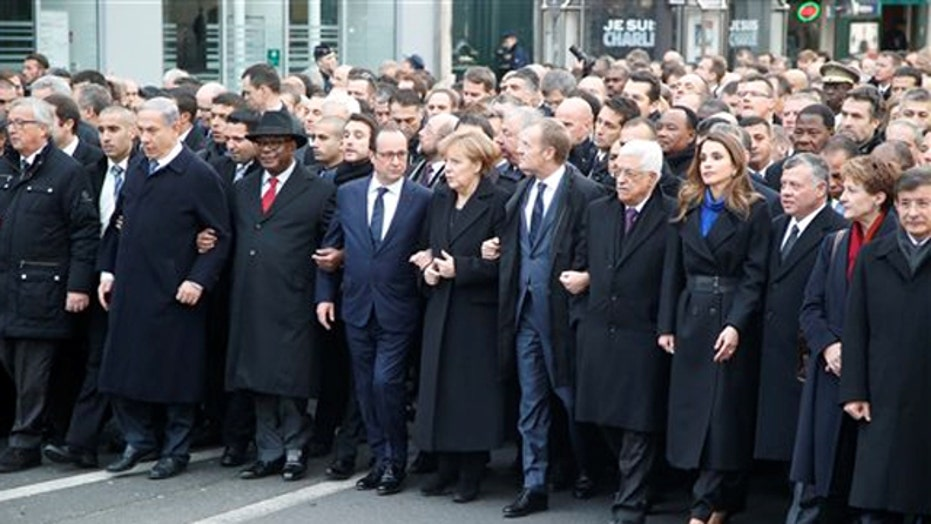 Leaders from 40 nations join marchers in Paris