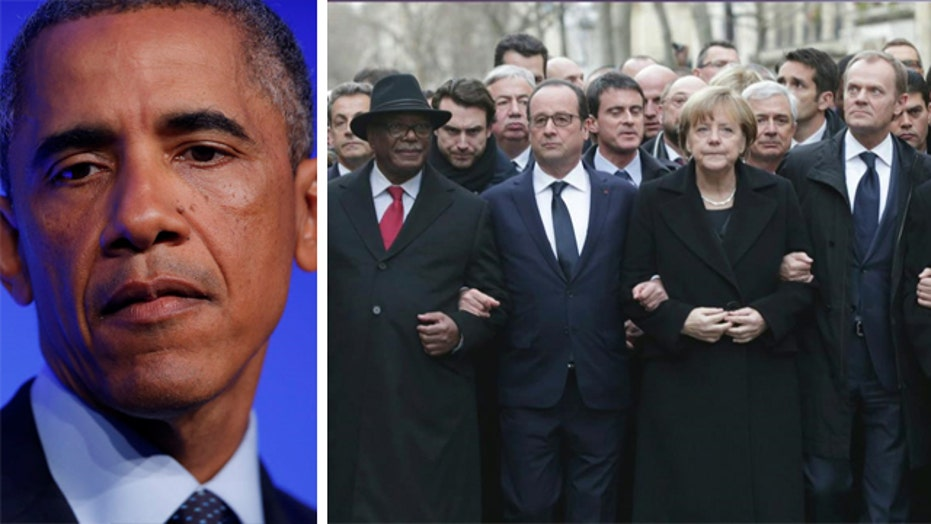 Obama blasted for failure to attend Paris anti-terror rally