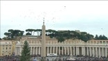 Balloons, not doves, were released as a gesture of peace Sunday in St. Peter's Square, a year after an attack by a seagull and a crow on the symbolic birds sparked protests by animal protection groups.