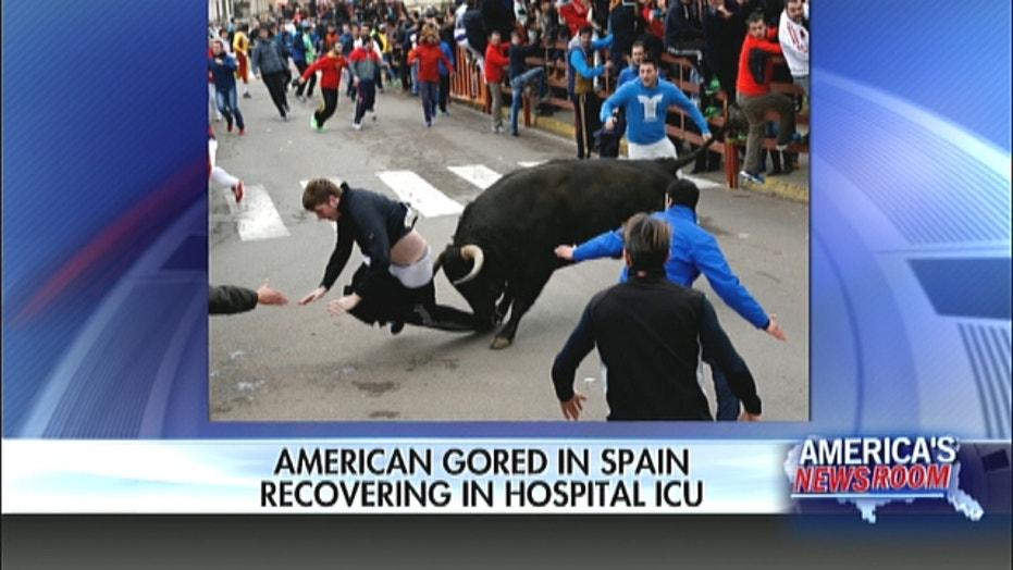 American gored by bull in Spain