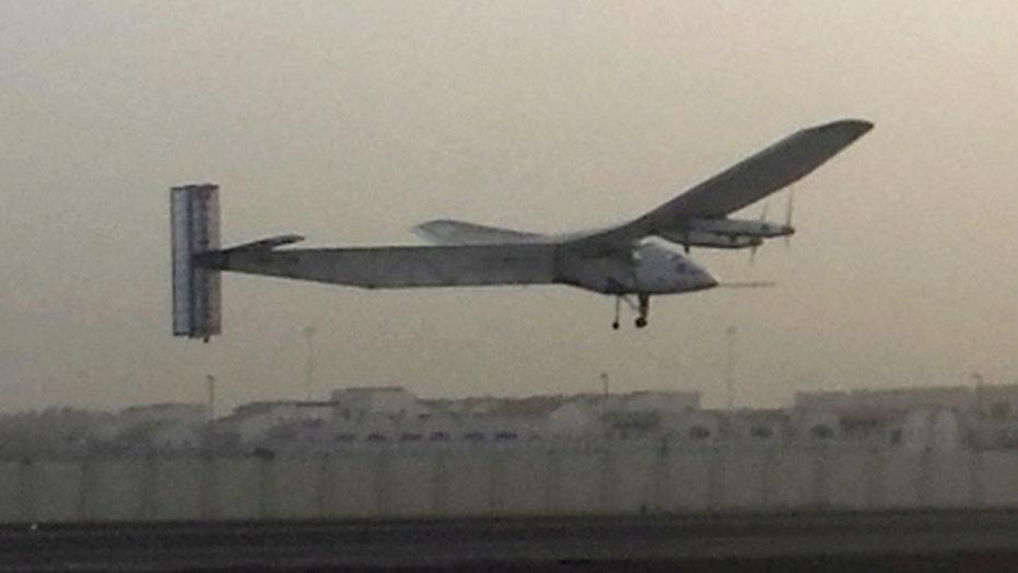 Solar-powered plane attempts around-the-world flight
