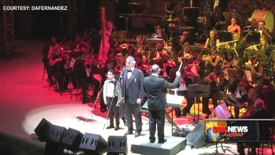 12-yr-old boy sings with Andrea Bocelli
