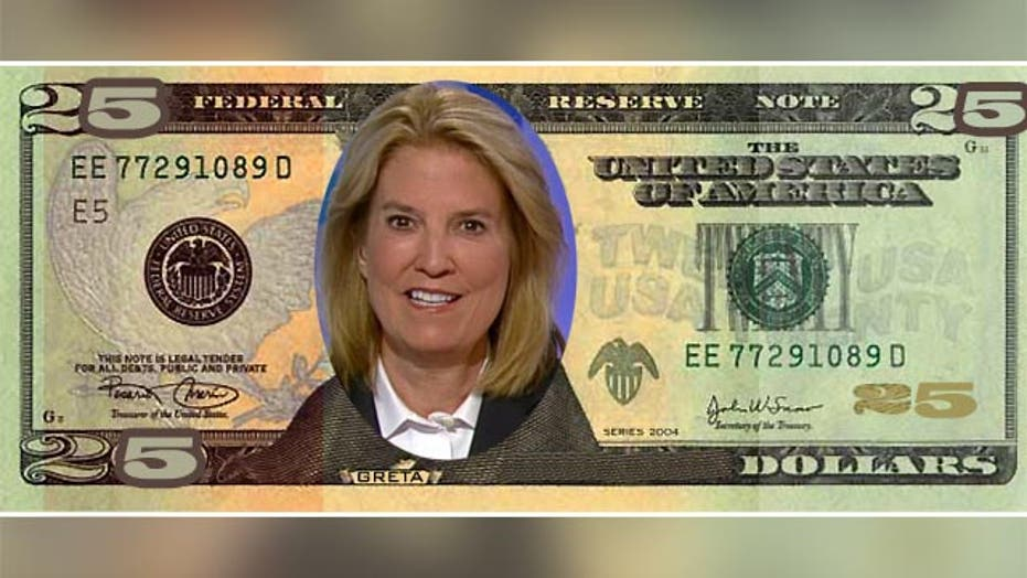 Greta: Let's create a $25 bill and put a woman on that