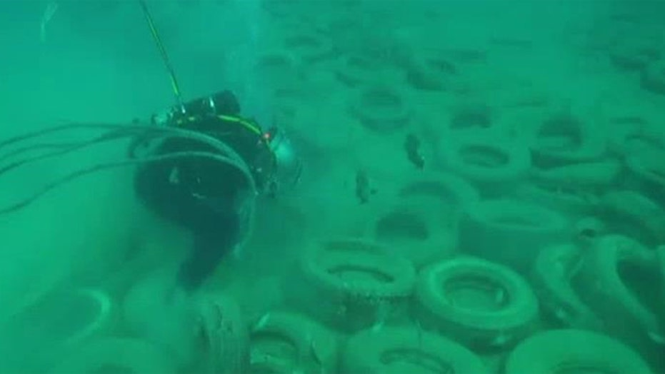 Divers removing artificial tire reef off Florida coast