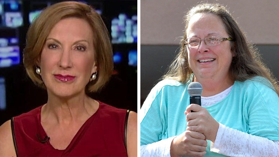Carly Fiorina reacts to the fallout over the Kim Davis case