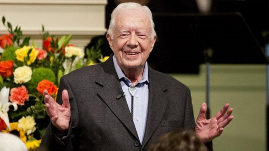 Crowds gather to hear Jimmy Carter teach Sunday school