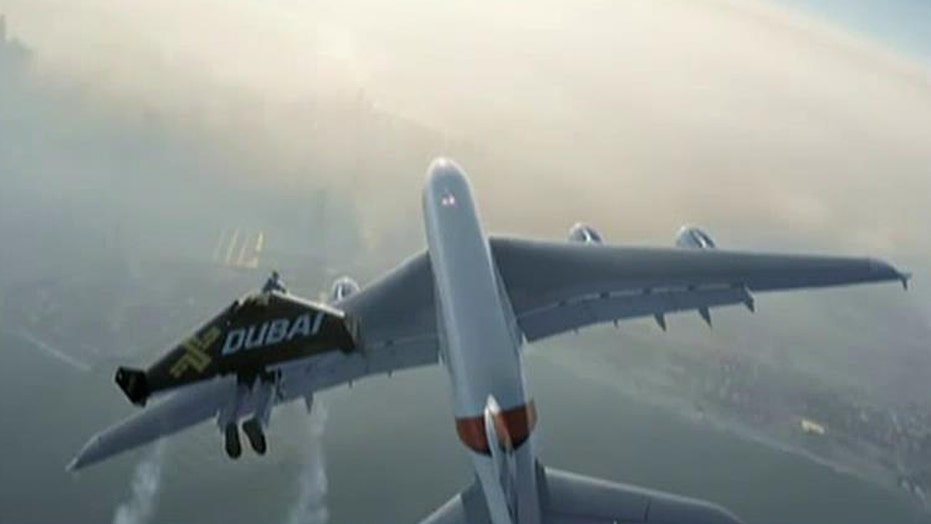 Men in jetpacks chase Airbus A380 over Dubai