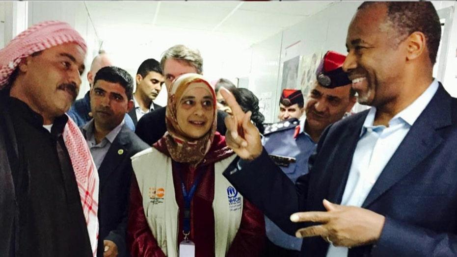 Carson visits refugee camp during surprise trip to Jordan