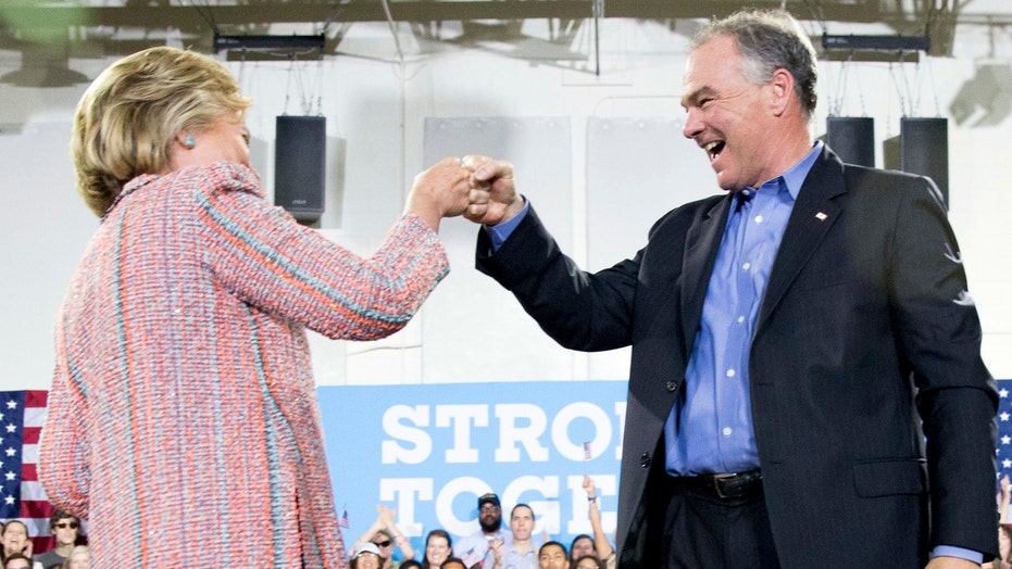 Clinton campaigns with possible VP running mate Tim Kaine