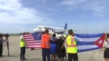 The first commercial flight between the United States and Cuba in more than a half century landed in the central city of Santa Clara.