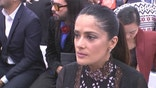 Actress Salma Hayek, speaking before Monday's Giambattista Valli fashion show, described the incident as horrific.