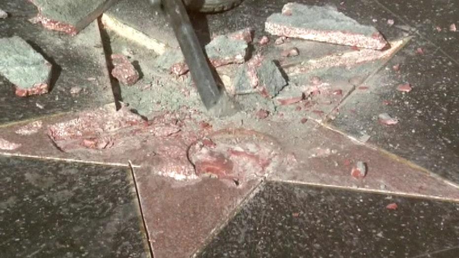 Crew works to repair Trump's vandalized Walk of Fame star