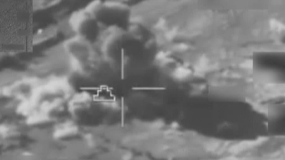 Video shows coalition airstrikes destroying ISIS equipment