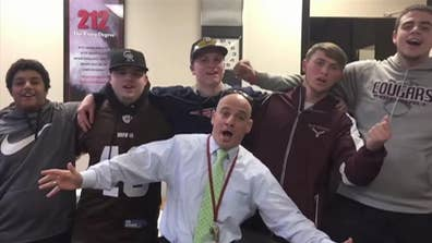 Raw video: Superintendent Aaron Polansky sings song with students from Old Colony Regional Vocational Technical High School in Massachusetts to announce school cancellation