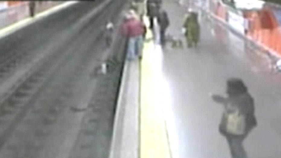 Scary subway fall caught on camera