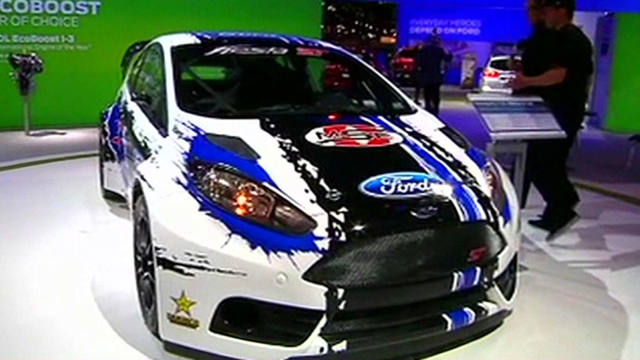 Tanner Foust shows off his race car