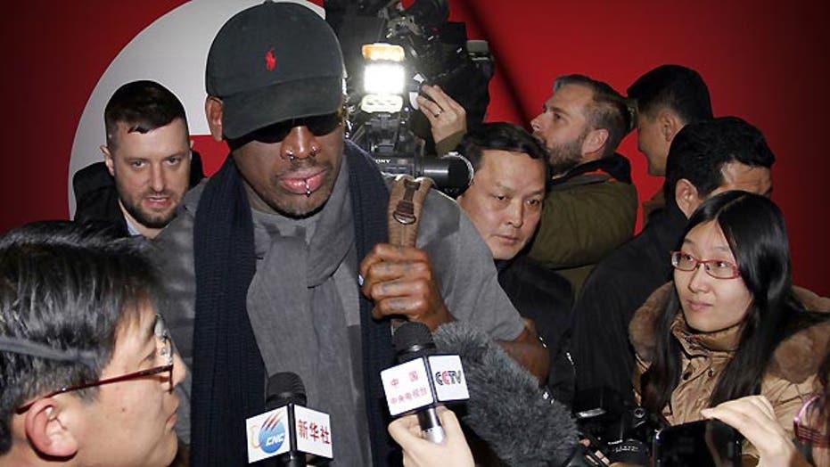 Former NBA star Dennis Rodman travels to North Korea
