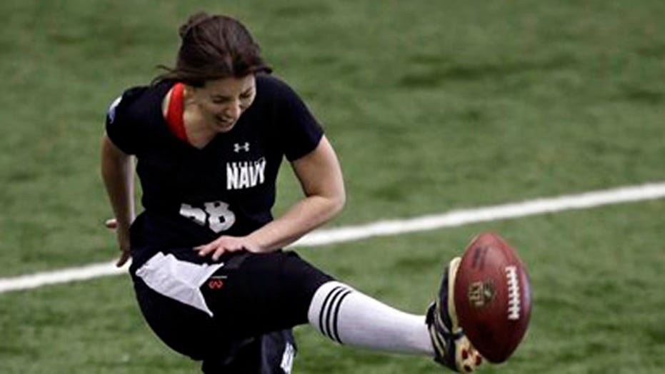 Kicker fumbles historic tryout for the NFL