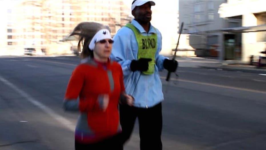 Blind runner expresses appreciation
