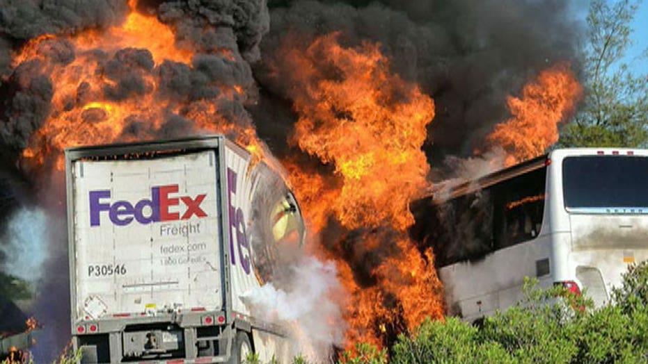 Horrific tour bus crash leaves at least 10 dead