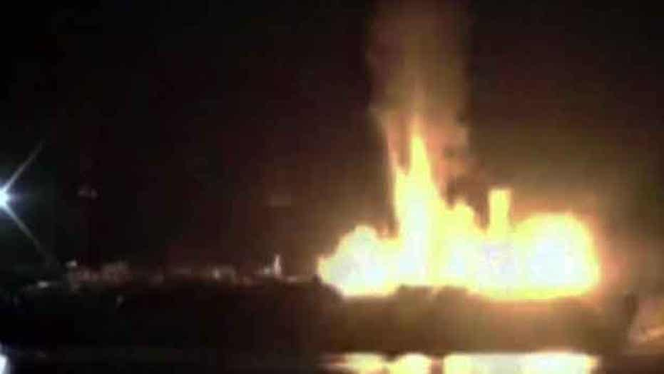 Fuel barges explode injuring three