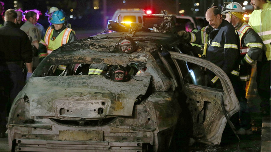 Newlywed bride, 4 friends killed when limo catches fire