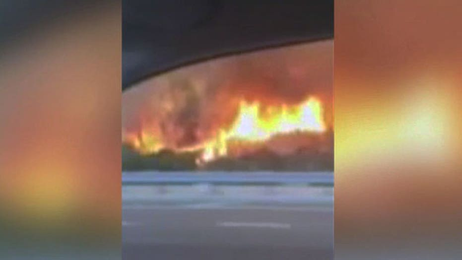 Driver shoots frightening video of California wildfire