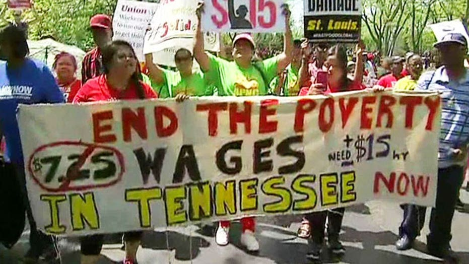 Union-backed fast food protesters demand big wage hikes