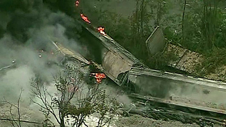 Report: Train derails and explodes in Baltimore