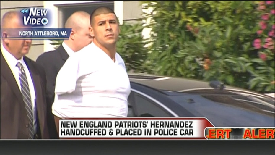 Aaron Hernandez Handcuffed & Placed In Police Car