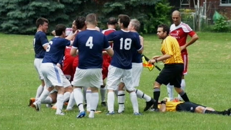 Player punches referee in throat during soccer game