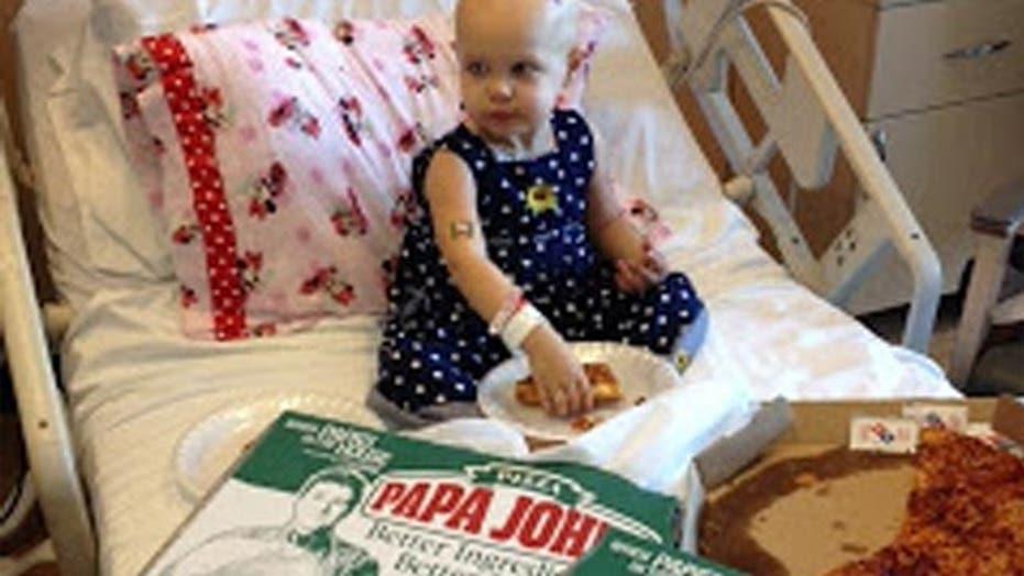 Internet sends pizzas to toddler battling cancer