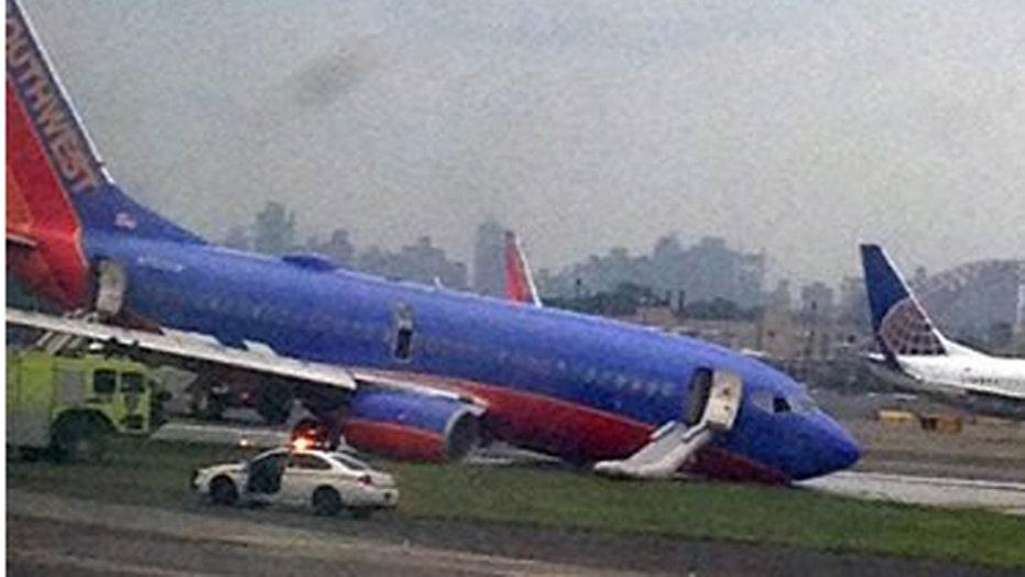 LaGuardia airport open after Southwest jet nose gear fails