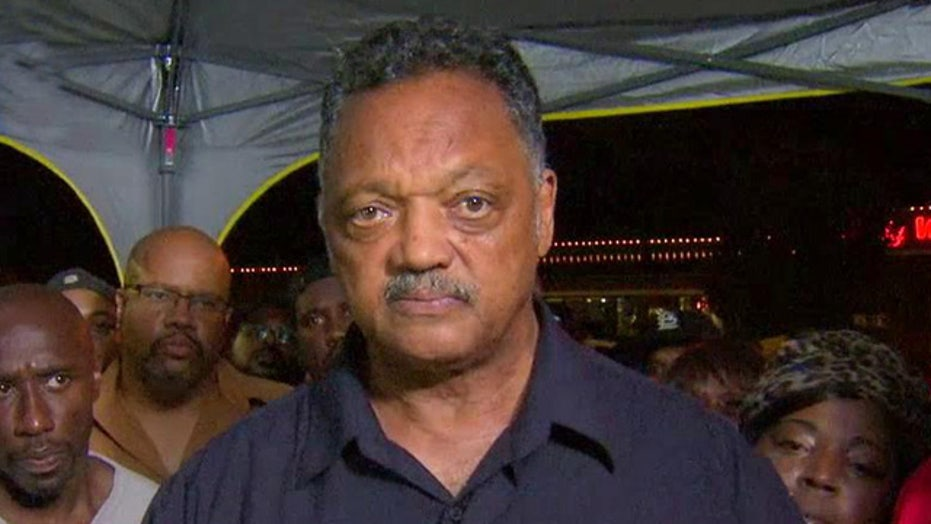 Rev. Jesse Jackson appears at protest in Ferguson