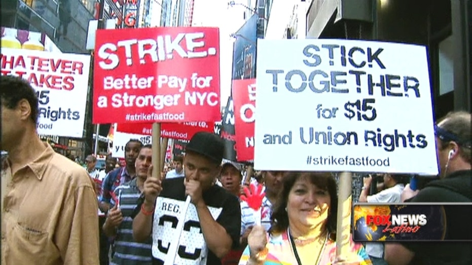 Fast-food workers demand $15 an hour