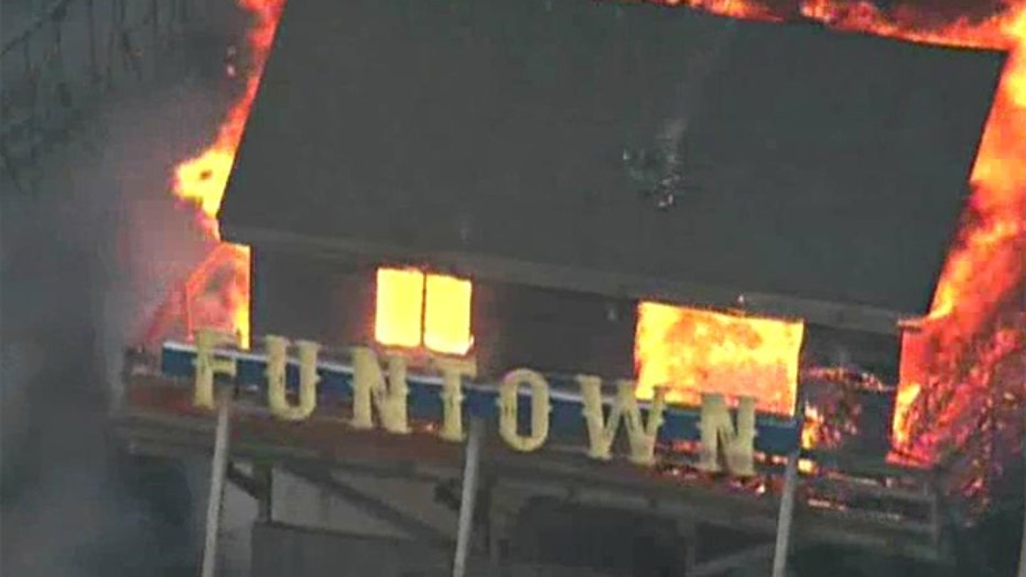 Fire destroys part of New Jersey boardwalk hit hard by Sandy