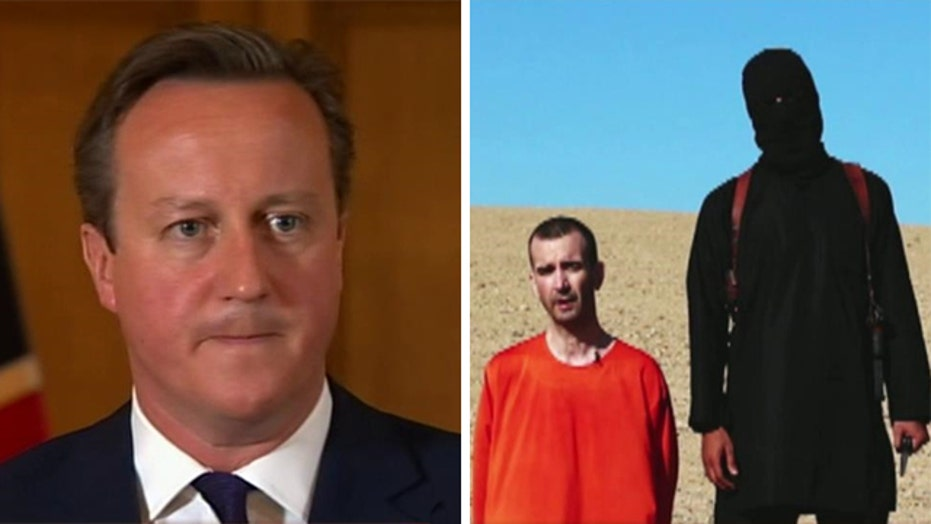 British PM David Cameron reacts to recent ISIS beheading