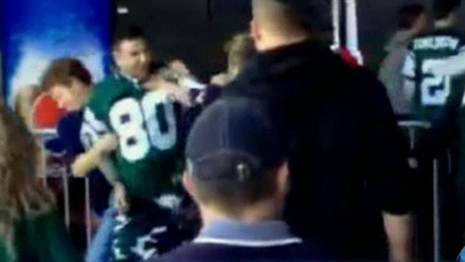 Woman punched in the face by Jets fan