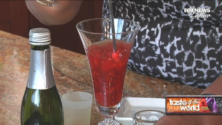 Raspberry Champagne cocktail with a kick