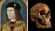 Battle-scarred skeleton found under parking lot