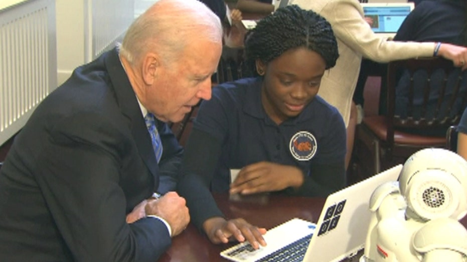 Biden reminds girls they are 'smart as any boy in the world'