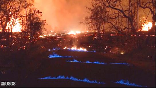 Hawaii volcano generates blue flames from burning methane