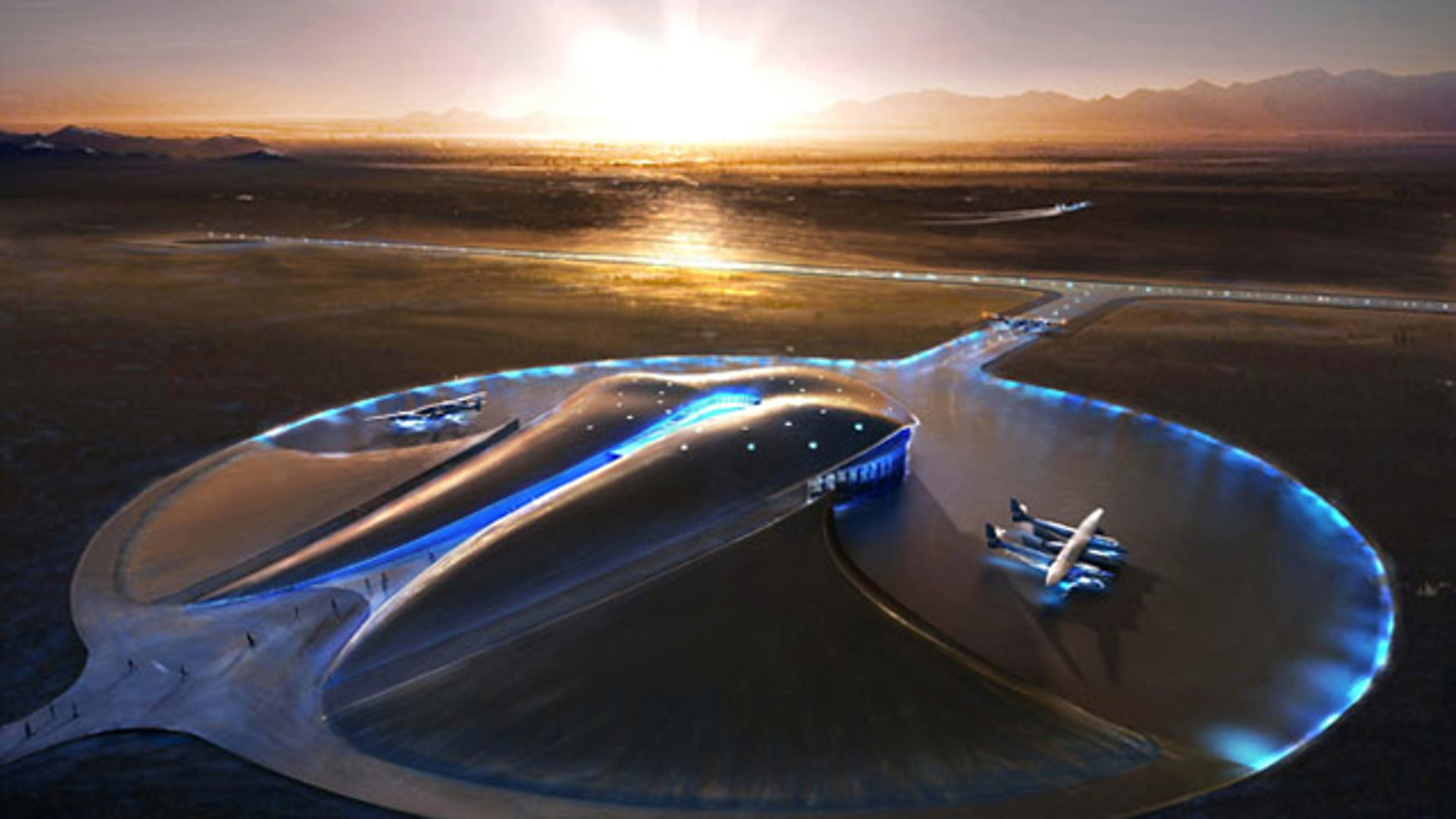 An artist's concept of Spaceport America, a suborbital spaceport under construction in New Mexico.