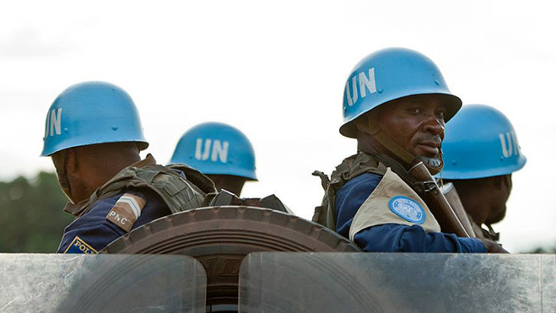 MINUSCA peacekeepers on patrol in the Central African Republic.